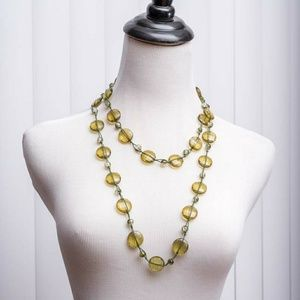 Extra long green bead necklace